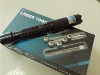 ingrosso luci laser lazer-AAA 100000m 5in1 450nm I più potenti puntatori laser Blu militare Luce LED Torcia torcia lazer malvagio Caccia + 5 tappi + caricabatterie + confezione regalo