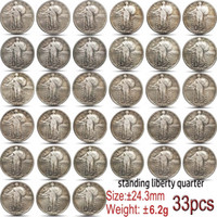33PCS Usa 1917-1930 Standing Liberty Quarter Coin Copy 24mm Collectibles