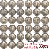 33PCS Usa 1917-1930 Standing Liberty Quarter Coin Copy 24mm Collectibles