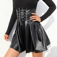 mini saia venda por atacado-Moda Cintura Alta Ajustável Lace Up PU Saia Plissada Mulheres 2018 Nova Sexy de Volta Com Zíper De Couro Mini Saia Saias falda