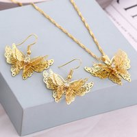 Wholesale miao butterfly earrings for sale - Group buy 18k Gold Plated Pendant Necklaces For Women Fashion Wedding Jewelry Sets Butterfly Necklaces Earrings Set