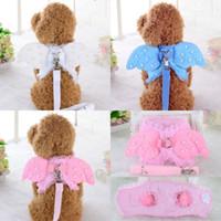 harnais roses pour chiens achat en gros de-Harnais pour chiots Angel Dog Wing Leash Angel Laisse Set Rose Blanc Bleu S M L Taille