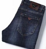 edificio de impresión al por mayor-Nuevo diseñador de jeans delgados de lujo marca ARMANI estampado lavado algodón elástico culturismo jeans