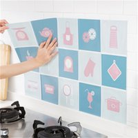 Wholesale oil sticker kitchen resale online - Oil Stain Proof Wall Sticker High Temperature Resistance Wallpaper Home Kitchen Stove Paper Fume Stickers Self Sticking ldC1