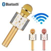 ipad promosyonları toptan satış-Kablosuz Mikrofon Bluetooth Hoparlör Parti Bluetooth Mikrofon Ev Karaoke Android iPhone iPad için Kablosuz Hoparlör Hoparlör Promosyon