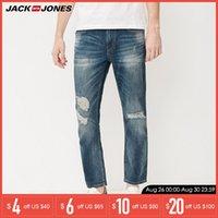 pantalones de lino de los hombres al por mayor-Los hombres de la marca jeans fasion agujeros de algodón y lino jeans largos masculinos delgados para hombre rasgados   217232518