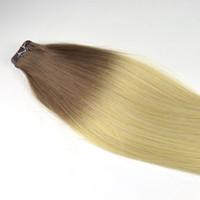 trame de peau de remy indien achat en gros de-2019 Gros 9A indien Remy peau trame Bande Extensions de cheveux Double bande dessinée dans des extensions de cheveux Vierge Humain Bande extension de cheveux