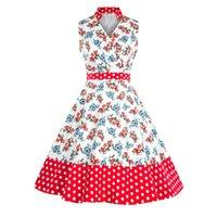 impressão digital vestido vintage venda por atacado-2019 moda impressão digital com decote em v verão mulheres vestidos vintage plus size vestidos a linha