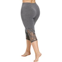 empuje los pantalones de verano al por mayor-Rose Gal Lace Trim Capri Plus Size Leggings Mujeres Sexy Fitness Legging Pantalones hasta la pantorrilla Mujeres Summer Workout Leggings Push Up Y19071801