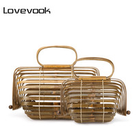 Wholesale small beach buckets for sale - Group buy LOVEVOOK women handbag bamboo bag female genuine totes straw woven foldable bucket hollow beach bags ladies summer Bohemia SH190920