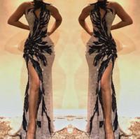 frente de renda de cristal venda por atacado-2019 Dividir Lado Alto Lace Sereia Vestidos de Baile Tophole Pescoço de Cristal frisado Sem Encosto Vestidos de Noite Oco Para Fora Frente Celebrity Dress BC0493