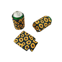 Wholesale flower coolers for sale - Group buy Coke Cup Cover Sun Flower Sleeve Zip Top Can Mug Cooler Sets Diving Material Black Yellow nya C1