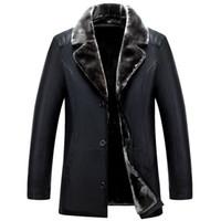 casaco de pele de homem venda por atacado-Brasão Mens inverno Designer Leather Jackets lapela pescoço Único Breasted Homens Inverno Casacos de pele Um dos homens