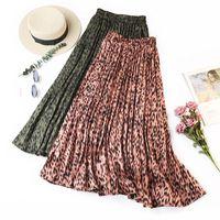 ingrosso gonne al ginocchio basso a matita-Summer Women Casual Fashion Leopard Print Long Skirt Elastico in vita plissettato tocco di seta A-Line Summer Skirt