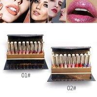 melhor batom líquido duradouro venda por atacado-Melhor Lip Gloss Set Líquido Batom Lip Glaze Mulheres Senhoras Meninas Moda Cosmatics QQ99 Long Lasting Lip Gloss