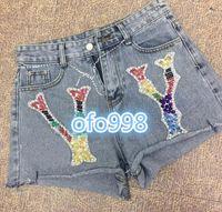 mädchen pailletten jeans großhandel-High-End-Frauen-Mädchen gebrochene Jeans shortswith Brief Sequin Strass Patch Brief drucken Casual Shorts Joggers Casual Hosen
