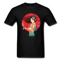 t-shirts personnalisés, plus la taille des femmes achat en gros de-Unique Geisha T-shirts Hommes personnalisés TShirt Japan Style T-shirt femme noire Hauts Plus Size T Coton Vêtements Pas Fade gros