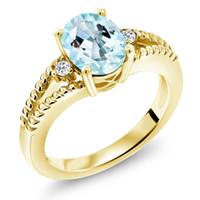 белое золото желтый топаз кольцо оптовых-2.05 Ct Овальный небесно-голубой топаз Белый топаз Кольцо из 18-каратного желтого золота с серебряным покрытием