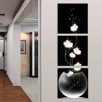 yağ soyut resim ayçiçeği toptan satış-Çiçekler ile 3 ADET Çerçevesiz Vazo Tuval Malzeme Sundurma Koridor Çerçevesiz Dikey Sürüm Ev Dekor Duvar Boyama Modern Sanat Resim dekor