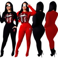 Wholesale red yoga outfit resale online - Women Sequins Tongue lip Outfits Piece Long Sleeve slim Hoodie Pocket Fitness Pant Streetwear Tracksuit Pullover Pants AAA1976