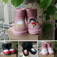 kız çocuklar ayakkabı çini toptan satış-ugg boots Çin toptan kısa moda kış çocuk botları fermuar deri ayak bileği kısa kalın sıcak ayakkabı çizmeler erkek kız siyah gri kahverengi AB 21-36