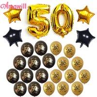 globos de papel negro al por mayor-Amawill Anniversary 50.o Cumpleaños Decoraciones para fiestas Kit para adultos con oro y negro 50 Globos de látex Globos impresos de látex Globos 75D