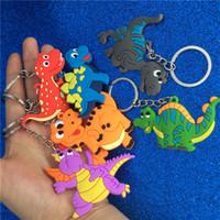 llaveros de plástico al por mayor-Dinosaurio de dibujos animados llavero de plástico lindo animal colorido dinosaurio llavero llaveros anillos bolsa cuelga joyería de moda Will y Sandy DropShip 340110