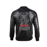 yeni erkek ceketli deri ceket toptan satış-2019 Yeni Moda Erkek Deri Kapşonlu Palto Punk Tarzı Deri Ceket Rozet Nakış Harf Coat Yaka Boyun PU Ceket Boyutu M-3XL
