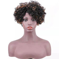 peruca loira curly loira venda por atacado-cabelo onda Ombre Loira peruca de cabelo humano Perucas P1B / 30 Afro Curly Bob Bleach Knot ao Lado da Mulher Negra