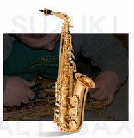 ingrosso cuscinetti sax-Nuovissimo Suzuki Alto Saxophone LAS-2000 Oro Lacca Sax Bocchino Professionale Patch Pad Ance Piega Collo