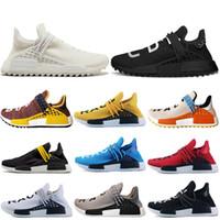 b cream achat en gros de-nmd shoes 2019 race humaine Hu trail pharrell hommes chaussures de course jaune rouge blanc Nerd noir crème Holi formateurs femmes sport baskets taille 36-47