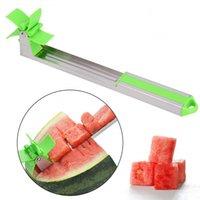 cantaloupe slicer großhandel-Wassermelonenschneider Edelstahl Messer Corer Zange Windmühle Melone und Cantaloupe Obst Slice Cutter Schneiden von Obst Gemüse Werkzeuge