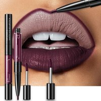 Wholesale purple matte liquid lipstick for sale - Group buy 16 Color Double ended Lipstick Lips Makeup Easy To Wear Matte Lip Gloss Lipliner Pencil Red Nude Pink Purple Liquid Lipsticks