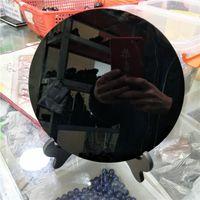 disco de placa venda por atacado-DHX SW enorme 20 cm placa de obsidiana natural preto fengshui espelho grosso grande círculo disco Ágata Real Xaga Lava Vítreo com prateleira livre