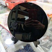 europa spiegel großhandel-DHX SW riesigen 20cm natürlichen schwarzen Obsidian Platte Fengshui dicken Spiegel großen Kreis Scheibe Royal Agate Xaga Glassy Lava mit freiem Regal