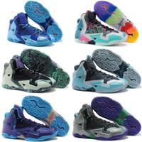 zapatillas de baloncesto hombres lebron 11 al por mayor-2019 Nuevo James XI 11 Azul marino hombre / mujer Zapatillas de baloncesto LeBron Soldier XI 11 Negro / Rojo / Blanco zapatillas deportivas