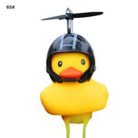 lâmpada de capacete de bicicleta venda por atacado-Capacete Duck bicicleta chifre luzes de bicicleta de Bell Adorável Pato bonito Squeeze Lamp Chifre Capacete carro elétrico para as crianças Adultos