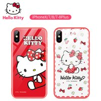 Wholesale kitty for iphone for sale – best For Iphone X Xr Xs Hello Kitty Glass Phone Case All inclusive Plus Patterns And Styles Smooth Touch Four Corners Anti fall