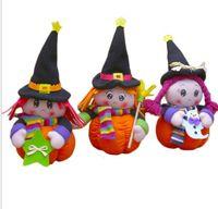 cadılar bayramı eşyaları toptan satış-Çocuklar hediye için HEDİYE Cadılar Bayramı Dekorasyon peluş oyuncak komik bebek Kabak küçük cadı Peluş oyuncaklar