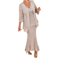 Wholesale plus size mother bride gowns jackets resale online - Modern Pieces Plus Size Lace Mother Formal Wear With Jacket Mother of groom Wedding Guest Dress Evening Mother Of Bride Dress Gowns