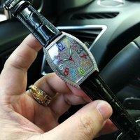 relógios de luxo venda por atacado-Venda quente nova senhora Assista Movimento Automático Diamante Bisel Placa de discagem de Diamante Cheio de algarismos arábicos pulseira de couro preto Relógio de pulso