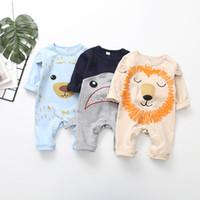 Wholesale boys romper lion resale online - Baby Romper Newborn Infant Boys Girls Cartoon Animal Lion Printed Cotton Romper Jumpsuit INS Autumn Kids Cute Long Sleeve Clothing
