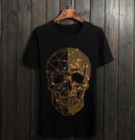yapay elmas giyim toptan satış-Erkekler Rhinestones T Shirt Pamuk 100% O Boyun Kısa Kollu Slim Fit Tee Gömlek Homme Adam Moda Giyim 01
