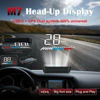 hud display obdii achat en gros de-M7 OBDII OBD2 + GPS Système Double HUD Universel Voiture HUD Head Up Display 3.5 pouce Vitesse Alarme Avertissement Auto Smart Numérique Compteur Véhicule Ordinateur De Voyage