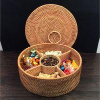 Autumn Rattan Hand-Woven Fruit Dried Plate Storage Basket,Divided Candy Snack Separated Tray Storage box,Desktop Dresser Valet Organizer