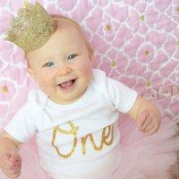 doğum günü tacı renkleri toptan satış-Bebek Erkek Kız Taç Bandı Doğum Günü Şapka Yenidoğan Çiçek Saç Aksesuarı Altın Rengi Inci Yenidoğan Şapkalar hediyeler