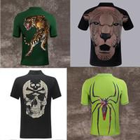черепа рубашка высокая мода оптовых-ГОРЯЧИЕ PP рубашки поло бренд тигр мужчины дизайнер одежды одежда с коротким рукавом calssic череп роскошная футболка высокое качество повседневная футболка M-3XL