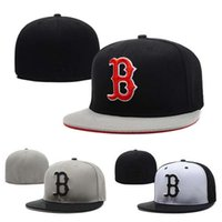 Wholesale pink fitted hats men resale online - New Letter B Cap Fitted Hats Men Red Flat Brim Brand Embroidery Designers Sports Team Fans Boston Full Closed Chapeu Baseball Caps
