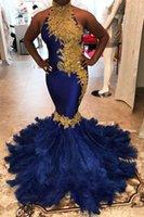 ingrosso abiti di couture oro nero-Abito lungo arabo Dubai Couture Prom con collo alto oro Appliques in pizzo donne abiti da sera spettacolo per il partito formale
