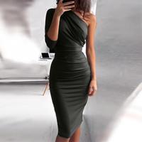 Bigsweety New Sexy One Shoulder Bodycon Party Dresses Elegant Women Casual Midi Sheath Slim Bodycon Dress Package Hip Midi Dress